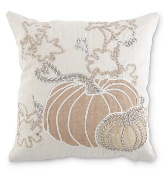 Square Embroidered White Pumpkin Pillow
