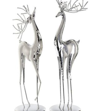 Set of 2 Contemporary Silver Deer