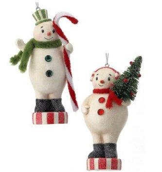 Resin Peppermint Snowman Ornament