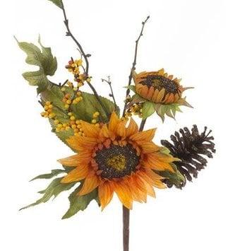 Autumn Sunflower Pick w/ Berries