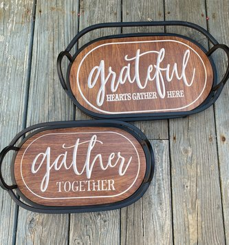 Metal Engraved Harvest Wooden Tray (2 -Sizes)