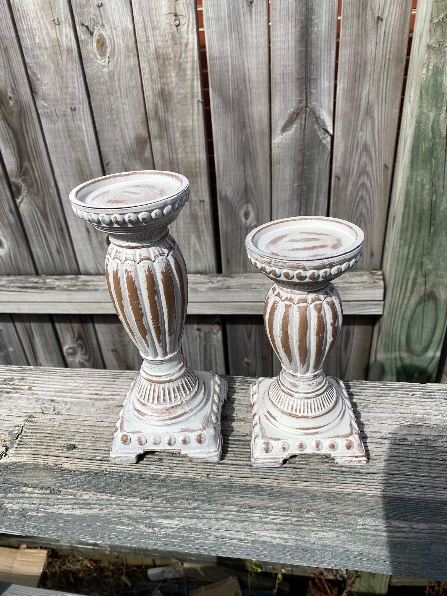 Set of 2 Whitewashed Beaded Candle Holder