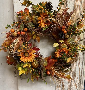 Custom Harvest Bounty Twig Wreath