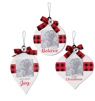 Buffalo Plaid Ornament Picture Frame (3-Styles)