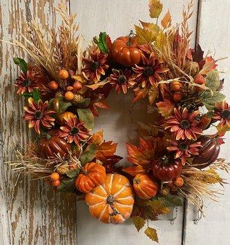Custom Pumpkin Harvest Wreath