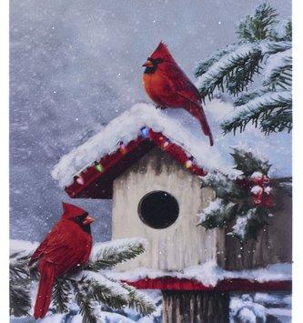 LED Birdhouse Cardinal Winter Scene Canvas