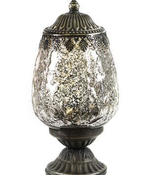 Vintage LED Mercury Glass Lantern On Pedestal (2-Styles)