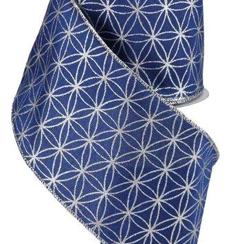 "Blue Silver Dupioni Wired Ribbon 4"" x 10 YDS"