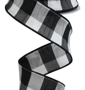 "Black & White Gingham Ribbon 1.5"" x 10 YDS"
