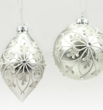 Frosted Silver Medallion Ornament