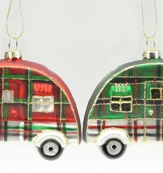 Glitter Plaid Camper Ornament (2-Colors)