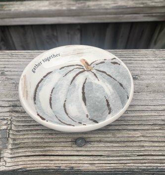 Gray Pumpkin Candle Saucer