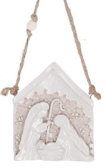 Pottery Lace Nativity Ornament (2-Sizes)