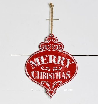 Merry Christmas Tin Ornament Sign