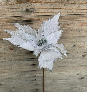 Sheer White & Silver Poinsettia Spray