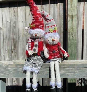Mr. & Mrs. Dangle Leg Snowman Couple