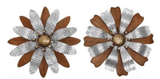 Galvanized Wood Wall Flower