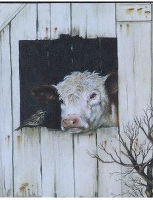 Cow in Barn Box Print