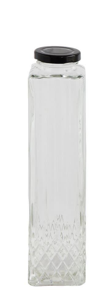 "9.5"" Patterned Square Bottle w/ Cap"