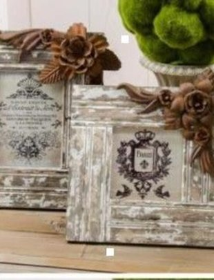 Wood Frame w/ Rustic Flowers