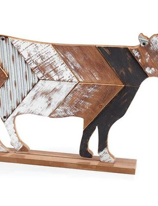Galvanized Wooden Cow