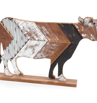 Galvanized Wooden Cow