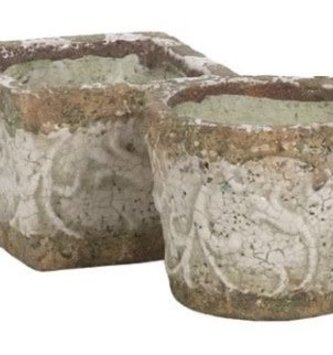Large White Crackle Container