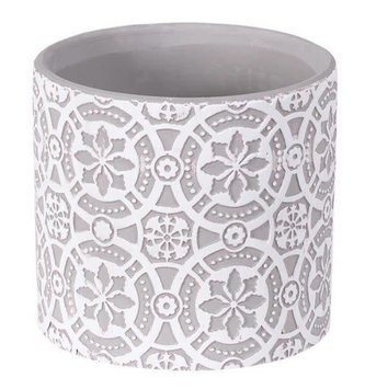 White & Gray Medallion Container