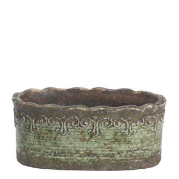 Large Green Scroll Oval Container