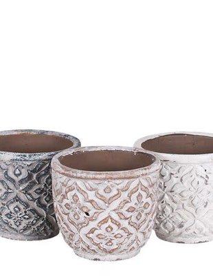 Whitewashed Patterned Pot