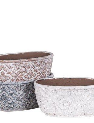 Whitewashed Oval Patterned Pot