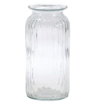 Large Ribbed Glass Vase