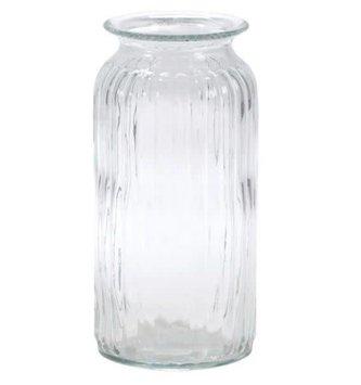 Large Ribbed Glass Vase