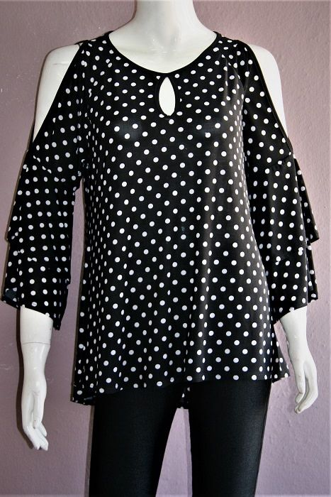 Black Cold Shoulder Polka Dot Bell Sleeve Top