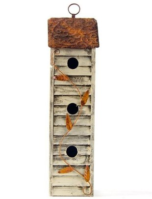 3-Story Distressed Wooden Birdhouse