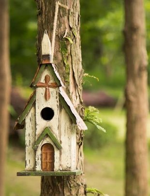 Distressed Wooden Green Cream Church Birdhouse