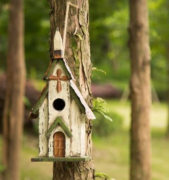 Distressed Wooden Green Cream Church Birdhouse