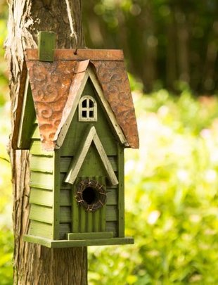 Green Distressed Wooden Birdhouse