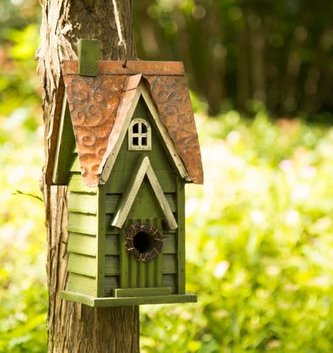 Green Distressed Wooden Birdhouse