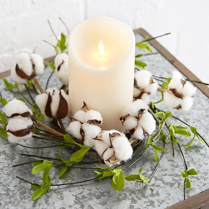 Cotton Greenery Candle Ring