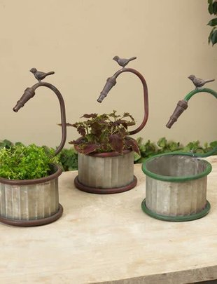 Galvanized Bird Faucet Planter (3 Styles)