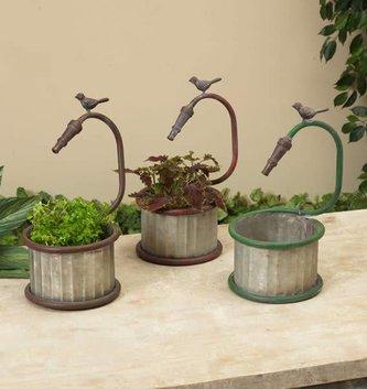 Galvanized Bird Faucet Planter (3 Styles)
