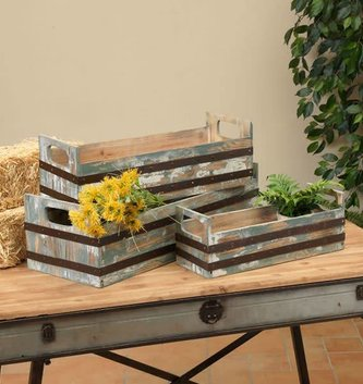 Metal Striped Wooden Crate (3 Sizes)