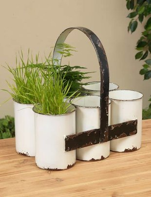 White Distressed Planter Caddy