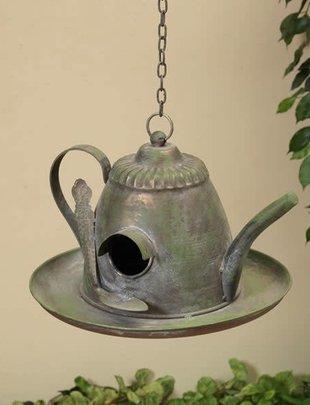 Hanging Metal Teapot Birdhouse
