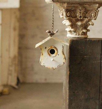 Hanging Rustic White Birdhouse