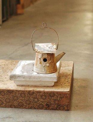 Cream Rustic Watering Can Birdhouse