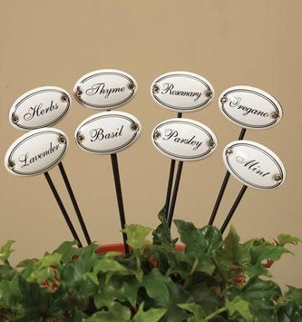 Set of 8 White Ceramic Herb Stakes