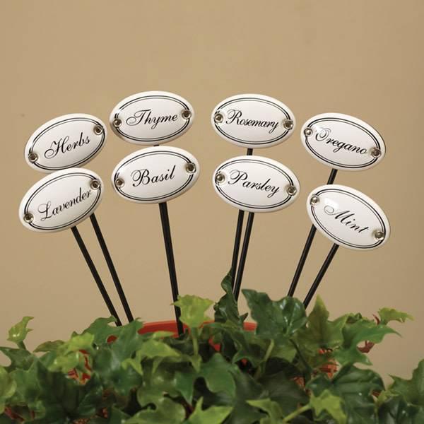 Set of 8 White Ceramic Herb Stakes