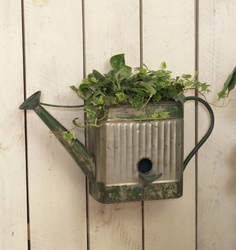 Metal Wall Watering Can Birdhouse Planter